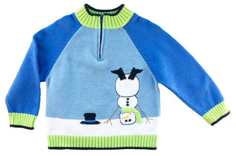 blue and green sweater with cartwheeling snowman