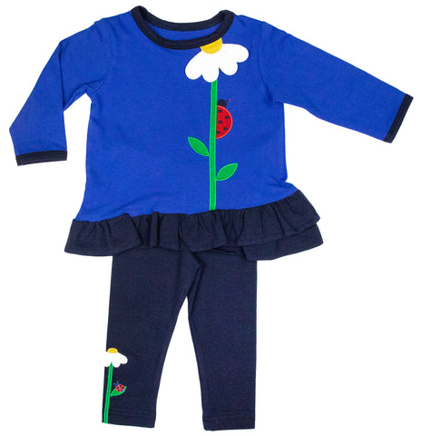 blue top with flower and ladybug and matching leggings