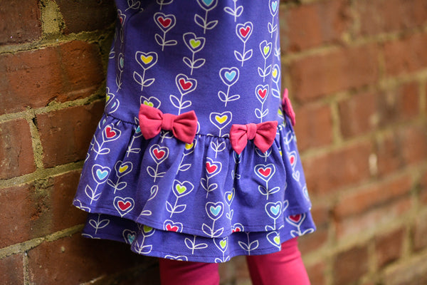 purple flower dress with bows