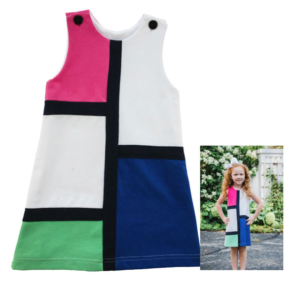 Knee-length Dress with large blocks of color, blue, pink, white