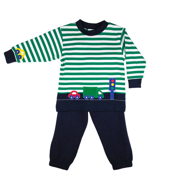Green and white stripe sweater with cars