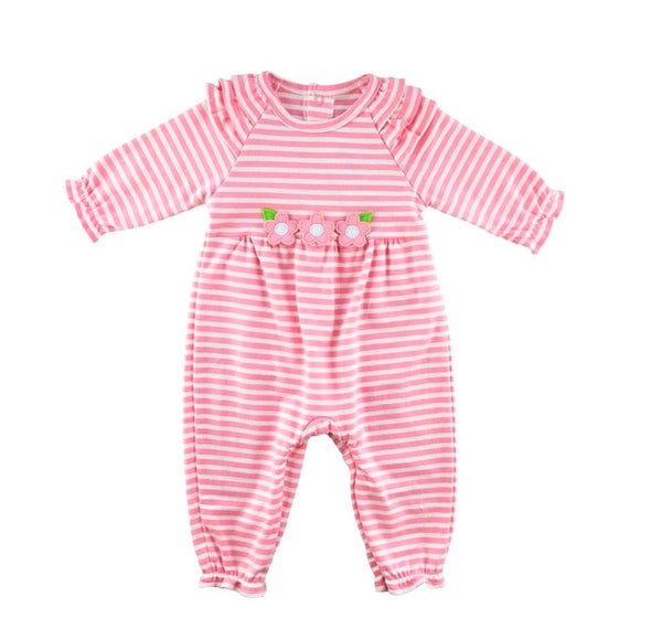 Pink Stripe Knit Longall with Three Pink Flowers at the waist