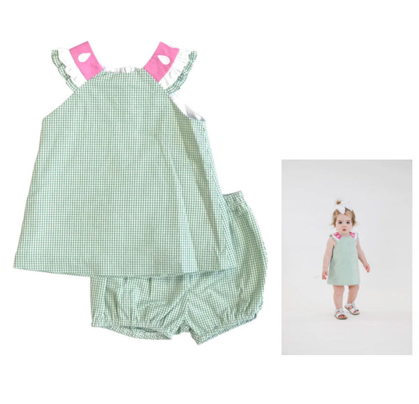 Green Check Watermelon Baby Dress and Bloomers
