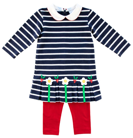navy stripe dress with flowers and red leggings