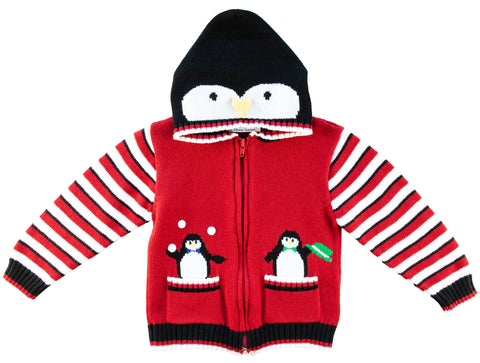 zip up sweater with penguin hood and striped sleeves