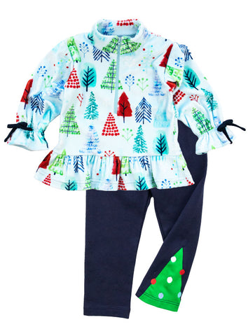 blue tree top with tree inset leggings