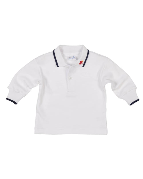 Boys Polo Shirt with Embroidered Airplane - Florence Eiseman