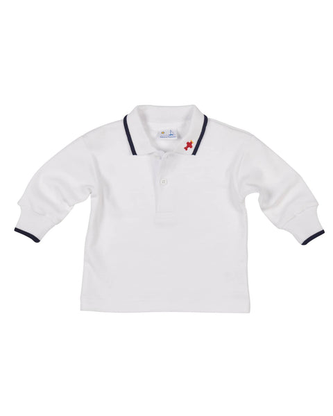 Boys Polo Shirt with Embroidered Airplane