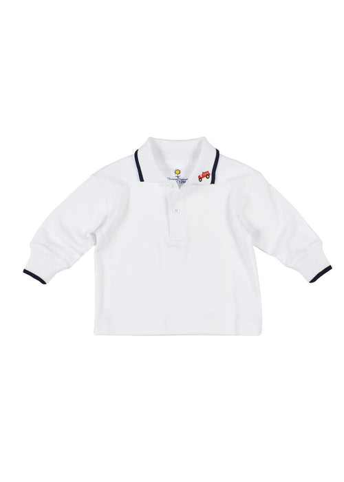 White Long Sleeve  Polo With Navy Tipping And Fire Truck