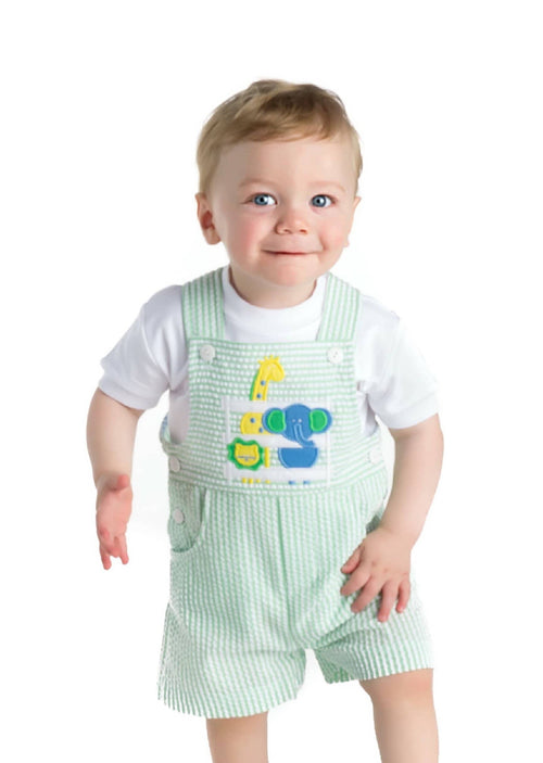 Green Seersucker Zoo Animals Shortall - Florence Eiseman