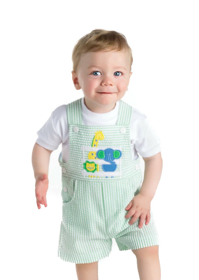 Green Seersucker Zoo Animals Shortall