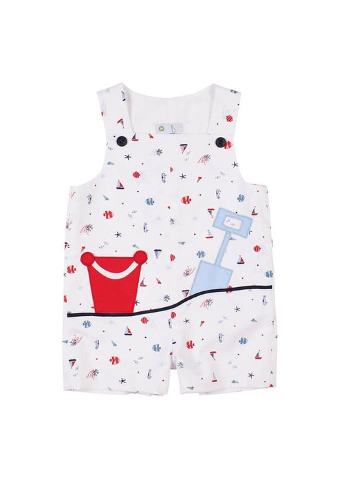 Nautical Print Pique Shortall With Sand Pail Applique