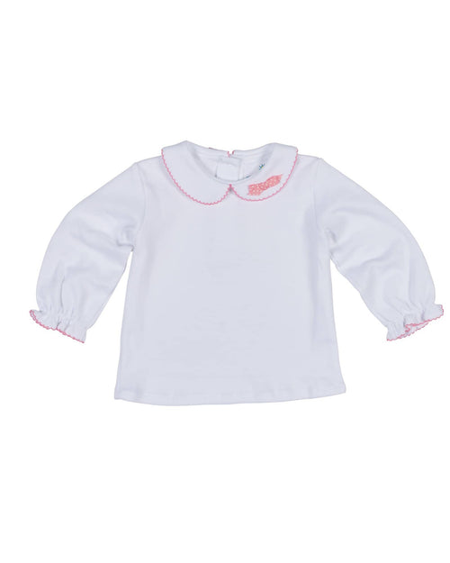 White Blouse with Pink Picot Trim and Bow