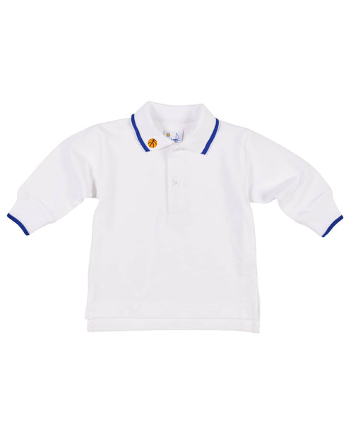 Embroidered Basketball Long Sleeve Polo