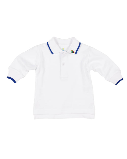 White Polo Shirt with Royal Tipping/ Embroidered Train - Florence Eiseman