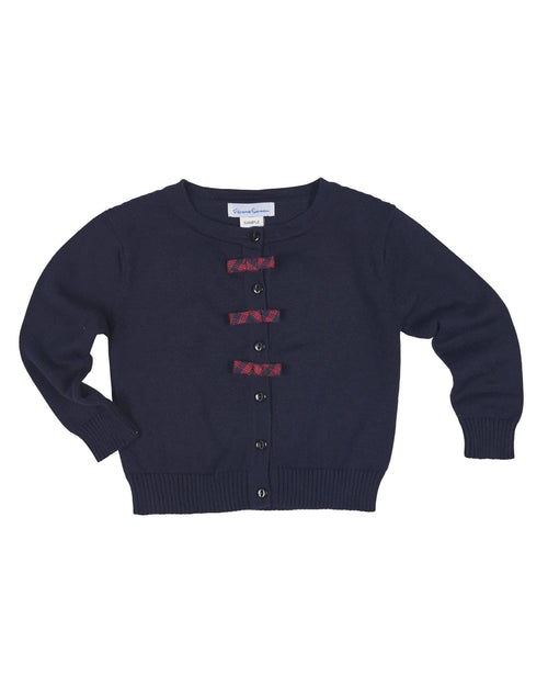 Navy Cardigan Sweater with Plaid Bows - Florence Eiseman