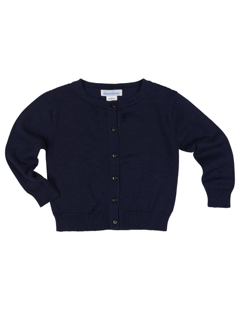 Girls Navy Cardigan Sweater