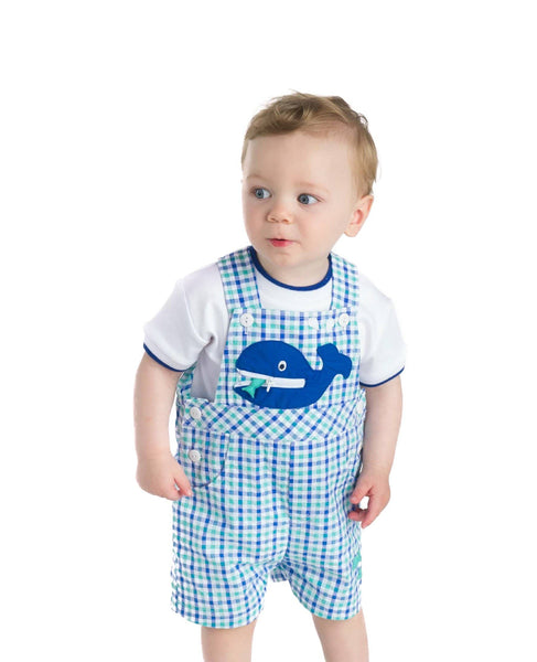 Blue and Green Seersucker Whale Shortall