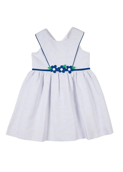 White/Navy Birdseye Pique Dress With Flowers - Florence Eiseman