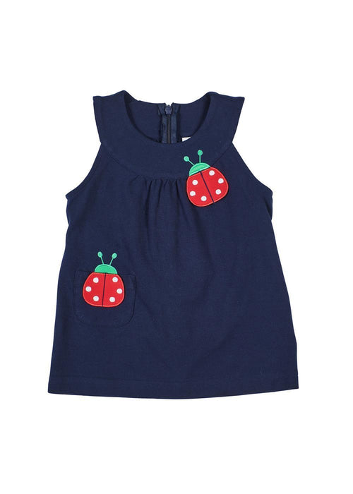 Girls Navy Jumper with Ladybug Appliqués