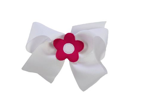 White Wee Ones Hair Bow with Fuchsia and White Flower