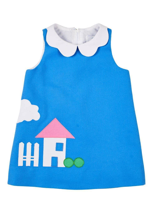Blue Pique Petal Collar Dress With House Applique