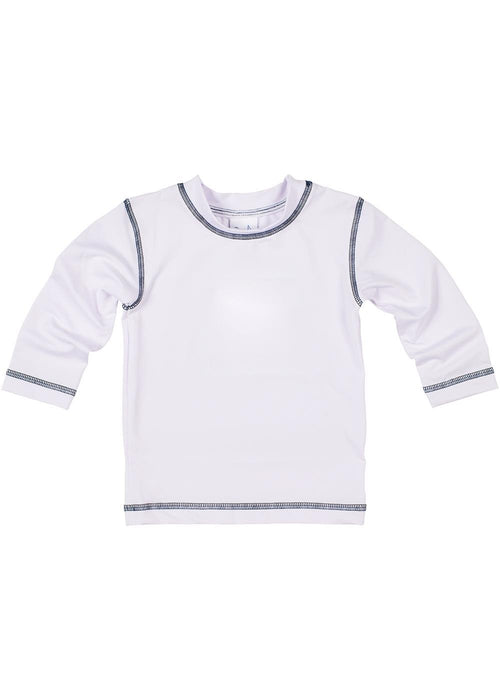 White Long Sleeve Rashguard With Navy Stitching
