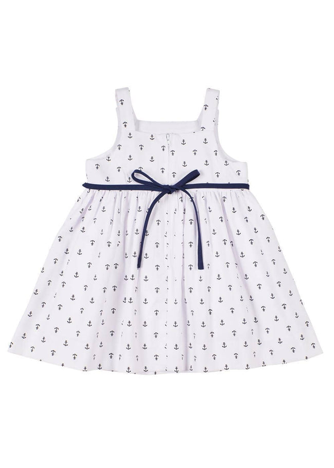Anchor Print Dress With Anchor Applique