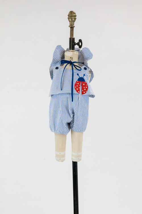Infant Girls Seersucker Romper With Ladybug