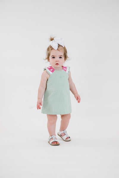 Seersucker Dress and Bloomer Set with Watermelon Trim