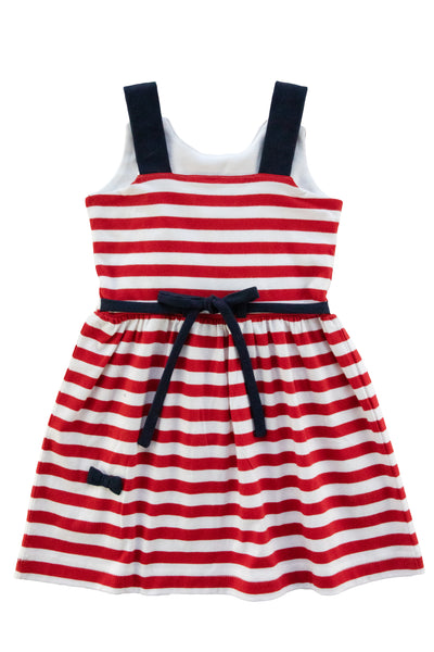 Girls Sundress in Red and White Stripe with Bows Back