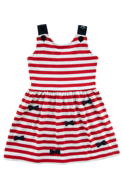 Girls Sundress in Red and White Stripe with Bows Front