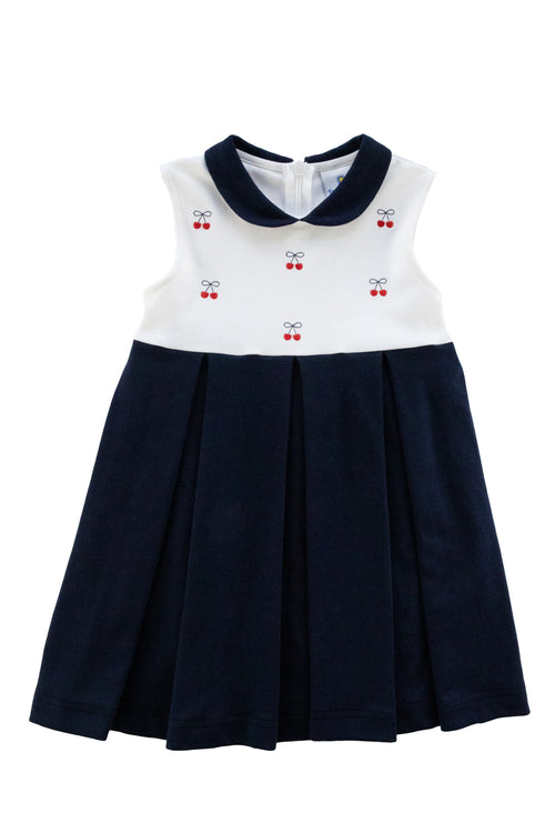 Navy/White Knit Dress With Embroidered Cherries