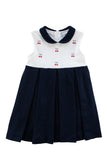 Navy Girls Pleated Dress with Embroidered Cherries