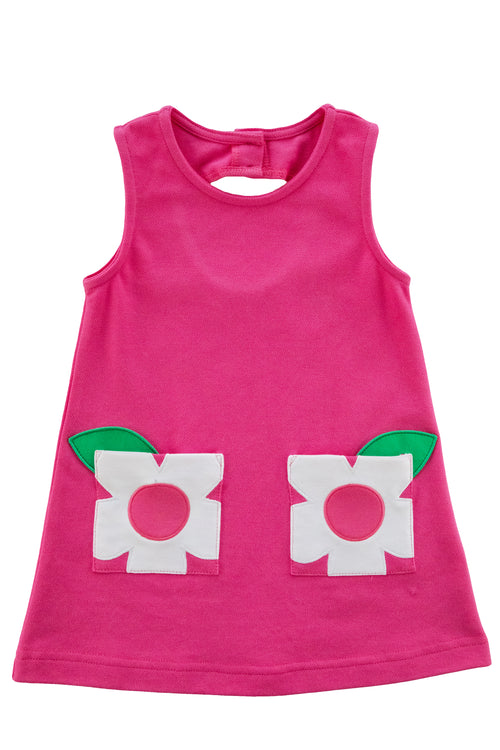 Girls Fuchsia Knit Dress With Flower Pockets
