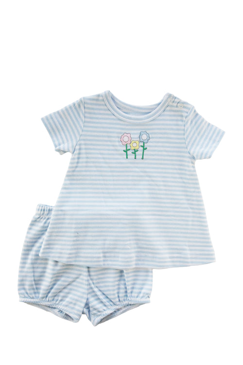 Baby Girl Blue Stripe Top And Bloomer With Flowers