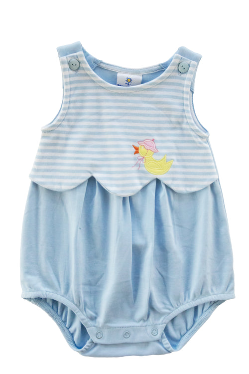 Baby Girl Blue Stripe Bubble With Duck