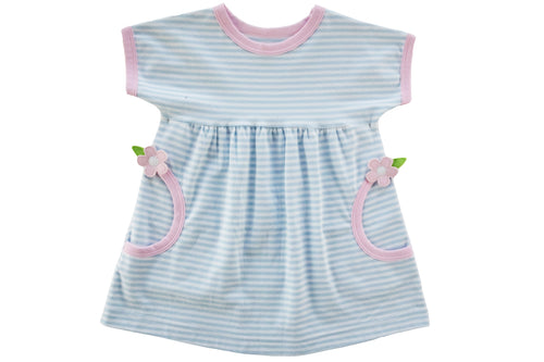 Toddler Girl Blue Stripe Dress With Flowers