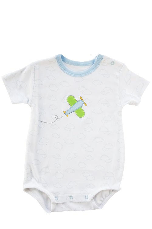 Baby Boy Cloud Print Bubble With Airplane