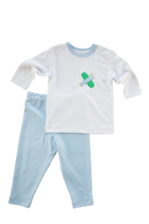 Baby Boy Cloud Shirt/Pant Set With Airplane