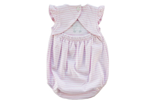 Baby Girl Pink Stripe Romper With Lamb