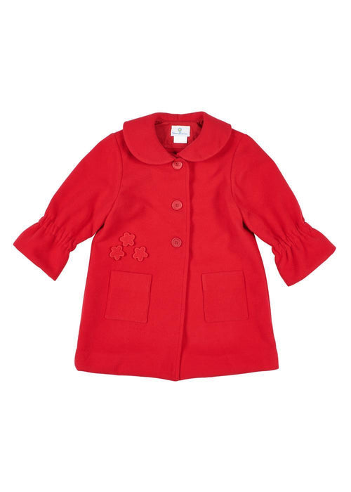 Girls Red Coat with Flower Appliqués