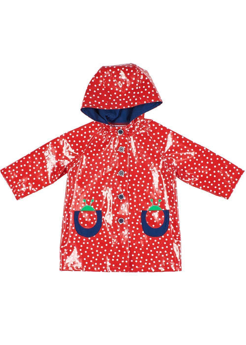 Girls Red Raincoat with Polka Dot Pattern