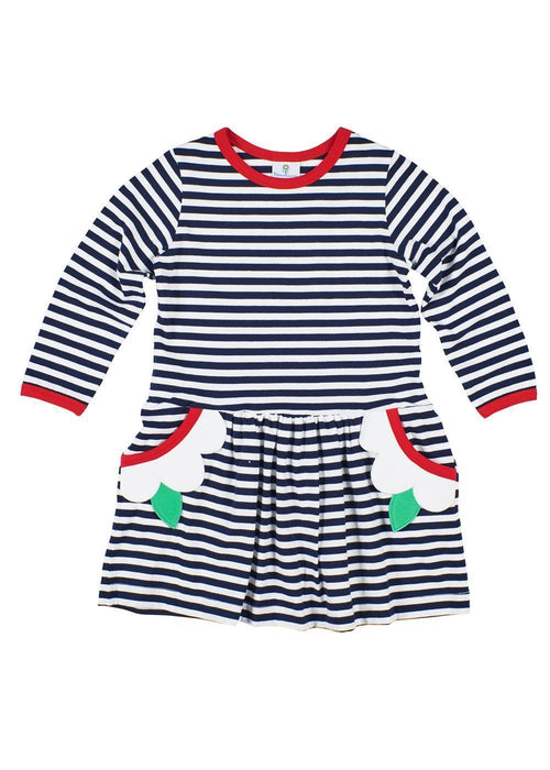 Girls Navy and White Striped Dress with Pockets
