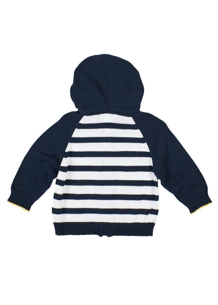 Boys Navy Blue Sweater with School Bus Back