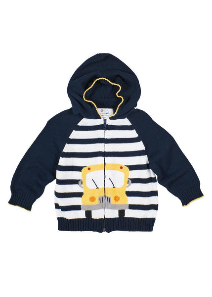 Boys Navy Blue Sweater with School Bus Front