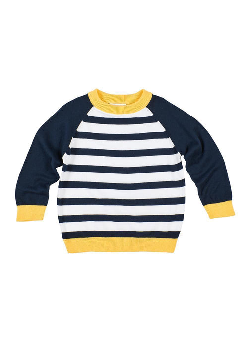 Boys White/Navy Stripe Crew Sweater