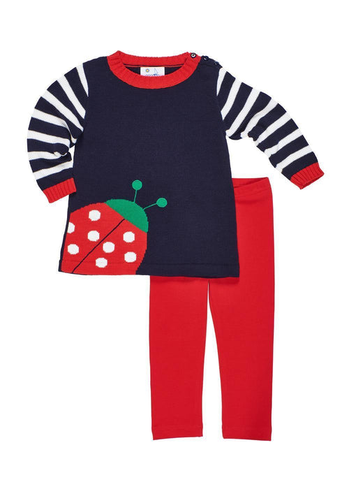 Navy Girls Ladybug Sweater and Leggings Set Front