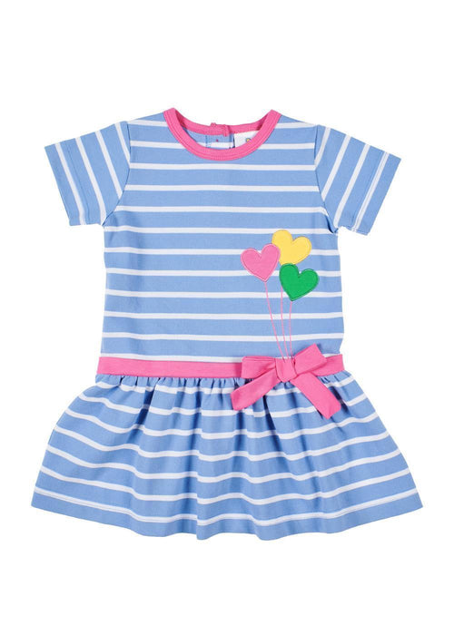 Girls Striped Dress with Heart Balloon Appliqués Front