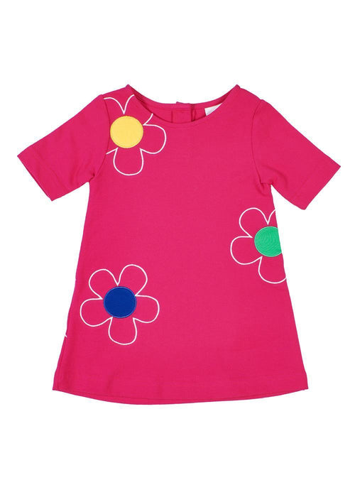 Bright Pink Girls Short Sleeve Dress with Flowers Front